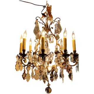 French Bronze & Crystal Chandelier For Sale