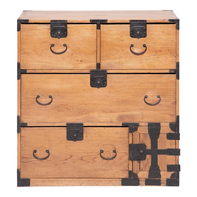Early 20th Century Japanese Iron Bound Tansu For Sale