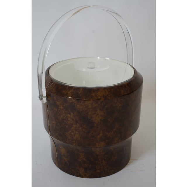 Vintage Saks 5th Ave Nyc Ice Bucket - Faux Tortoise Shell and Lucite For Sale - Image 10 of 10