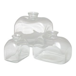 Set of Three Murano Glass Vases Attributed to Barbini For Sale