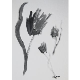 Abstract Black & White Floral Painting by Cleo For Sale