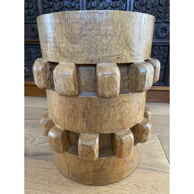 Mid-Century Modern Vintage Hand-Carved Wooden Stool Side Table For Sale - Image 3 of 8