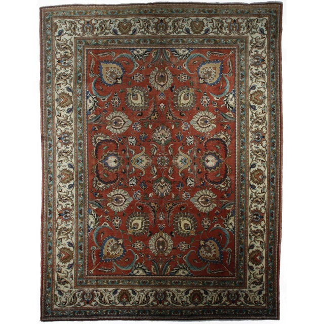 Islamic Late 20th Century Hand-Knotted Wool Persian Tabriz Rug - 11′ × 14′5″ For Sale - Image 3 of 3