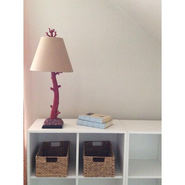 Arteriors Coral Lamp. Like new. Kraft paper shade.