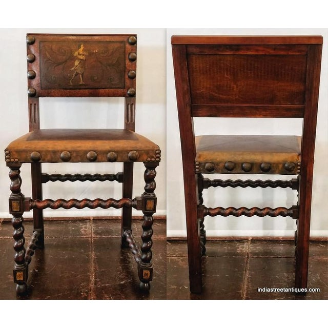 Spanish Colonial Revival Painted Leather and Wood Drop-Front Desk on Stand and Chair For Sale - Image 11 of 13
