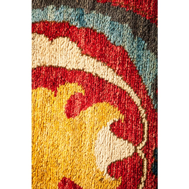 """Contemporary Suzani Hand-Knotted Runner 2' 9"""" x 10' 5"""" For Sale - Image 3 of 4"""