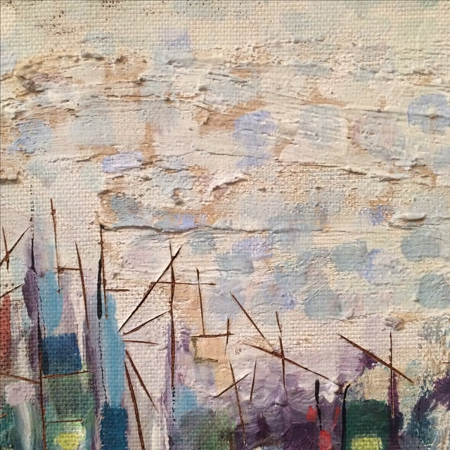 Mid-Century Abstract Cityscape Painting - Image 8 of 9