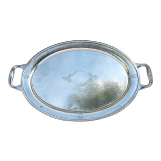 C.1930s Moroccan Style Reed & Barton Silver Plate Hammered Oval-Shaped Grand Serving Tray For Sale