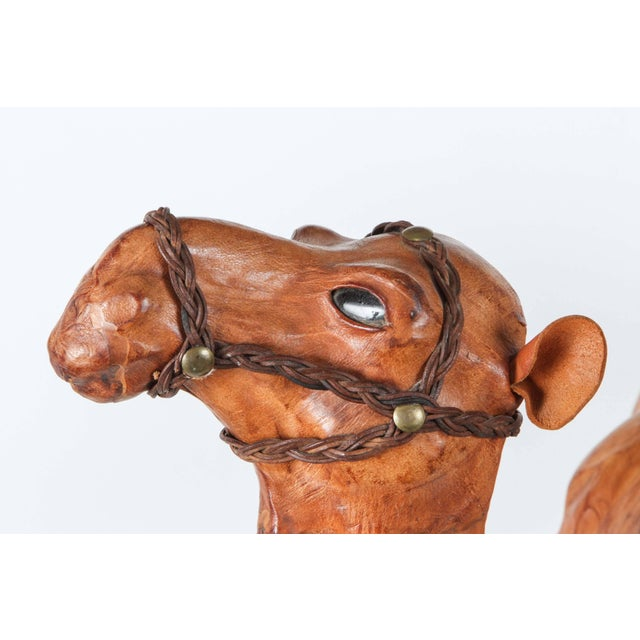 Mid 20th Century Moroccan Leather Wrapped Camel Sculpture For Sale - Image 5 of 7