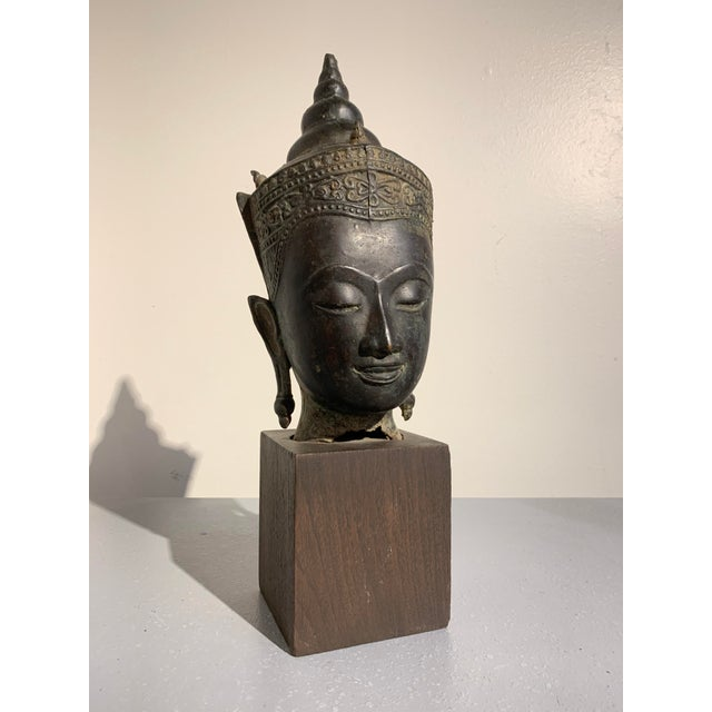 Vintage Thai Ayutthaya Style Bronze Buddha Head For Sale - Image 11 of 11