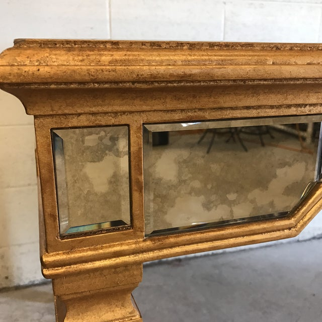 Antiqued Mirrored Dining Table With Gold Leaf Trim For Sale - Image 10 of 10