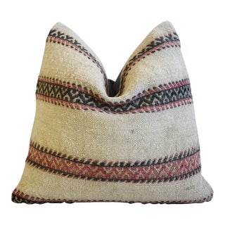 """Chic Woven Striped Turkish Carpet Feather/Down Pillow 18"""" Square For Sale"""