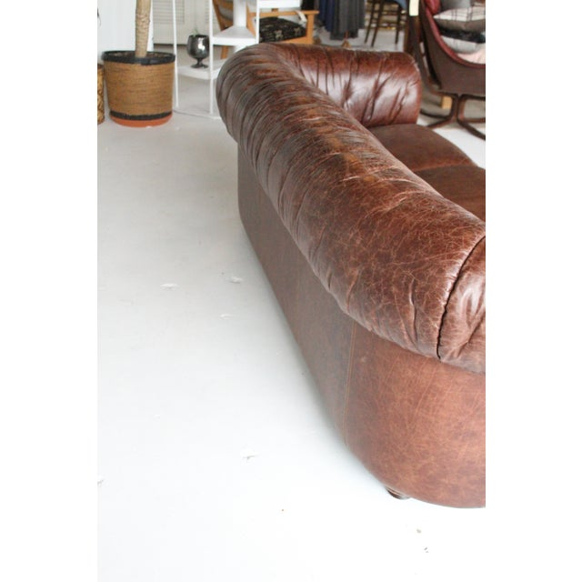Art Deco 1960s Vintage Italian Leather Sofa For Sale - Image 3 of 7