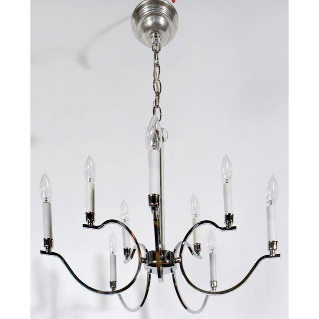 Frederick Cooper five-arm chandelier has a total of 10 lights on double branches. Center stem is glass. Devoid of kitsch...