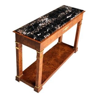 1980s Vintage Traditional Baker Furniture Burlwood Brass Marble Console Table For Sale