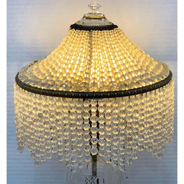 Austrian Art Deco Crystal & Bronze Boudoir Lamp, With Sphinx Feet For Sale In Atlanta - Image 6 of 10
