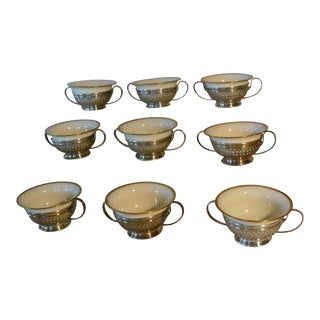 Gorham Sterling Silver Boullion Cups With Lenox Liners, A5547 Hollowware - Set of 9 For Sale
