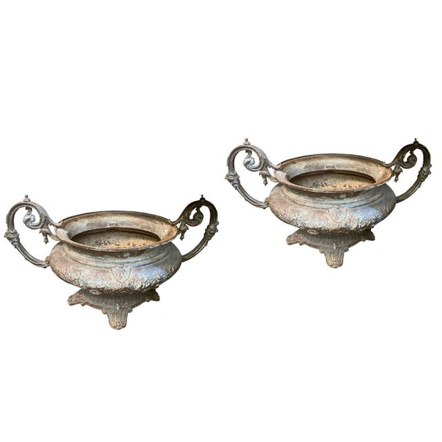 19th Century French Cast Iron Urns - a Pair For Sale - Image 4 of 4