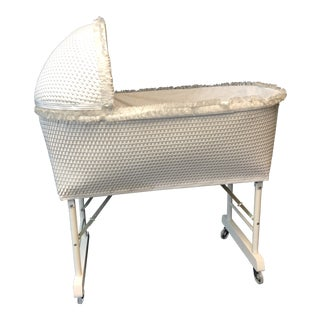 Vintage White Wicker Bassinet With Stand For Sale