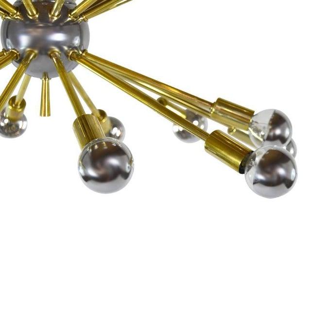 Mid 20th Century Vintage Chrome and Brass Sputnik Chandelier For Sale - Image 5 of 8