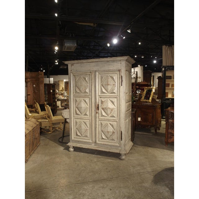 Painted 17th Century French Oak Diamond Point Armoire For Sale - Image 11 of 13