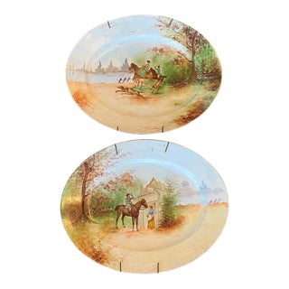 Limoges Oval Equestrian Hunting Hand Painted Platters -A Pair For Sale