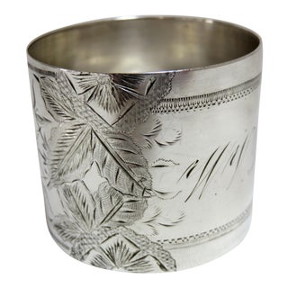 1800's Antique Sterling Silver Napkin Ring For Sale