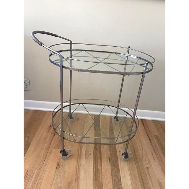 Mid Century Vintage Two-Tier Oval Rolling Bar Cart For Sale - Image 9 of 9