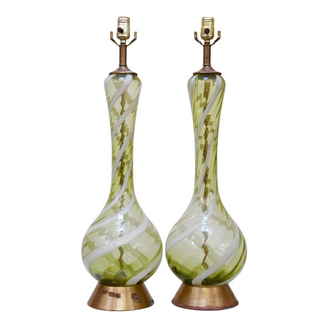 Italian Blown Ribbon Glass Lamps, a Pair For Sale