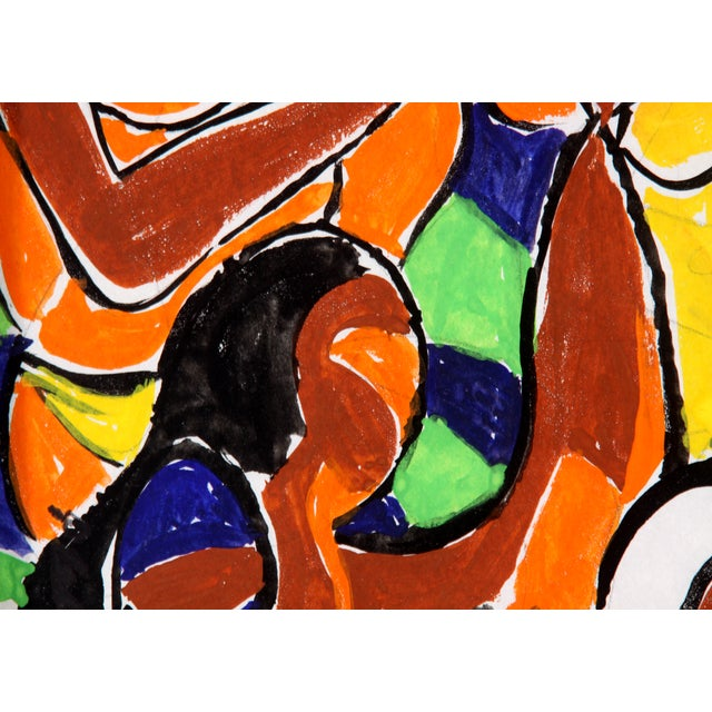 Vintage Abstract Figure Gouache Painting - Image 4 of 6
