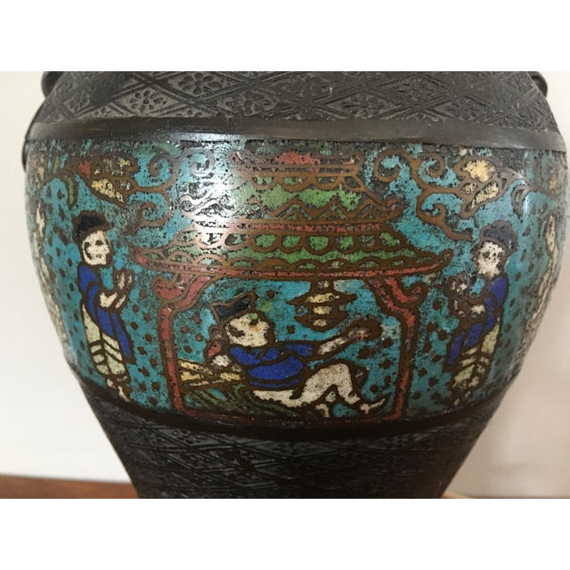 Antique Japanese Champleve Urn Style Lamp For Sale - Image 4 of 6