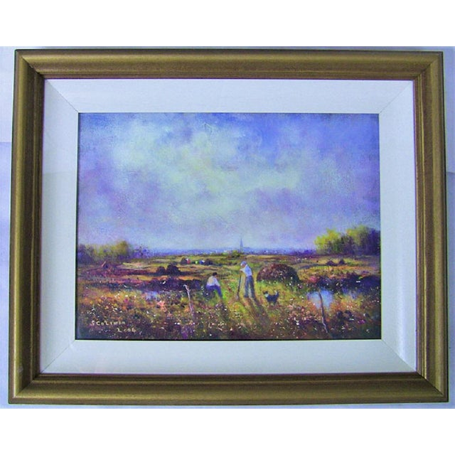 Gold Irish Oil on Canvas of Ballaghadereen Bog by Seamus Coleman For Sale - Image 8 of 9