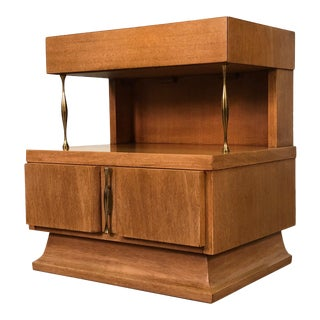 American of Martinsville Mid-Century Modern Mahogany Nightstand Two Tier For Sale