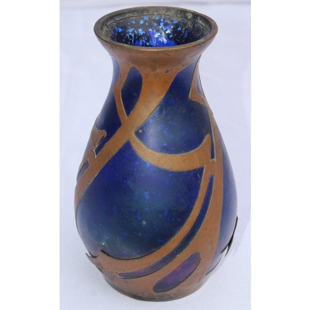 Iridescent Handblown Loetz Tulip Form Vase With Copper Overlay