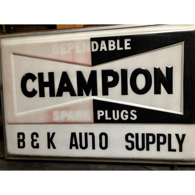 Vintage Everbrite Industrial Metal-Framed Double-Sided Champion Auto Supply Service Sign For Sale - Image 4 of 10
