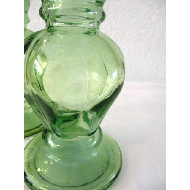 Spanish Lime-Green Glass Candle Holders - a Pair - Image 6 of 7