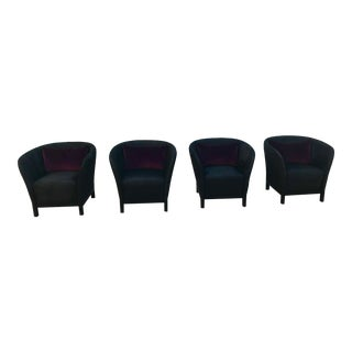 Black Suede Accent Chairs With Purple Velvet Pillows - Set of 4 For Sale