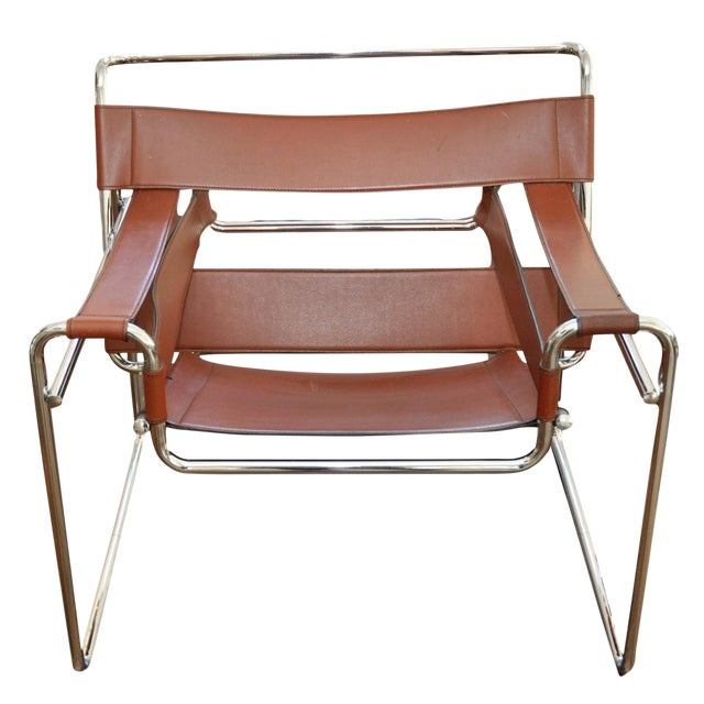 Reproduction Mid-Century Wassily Leather & Chrome Chairs - Pair - Image 1 of 9
