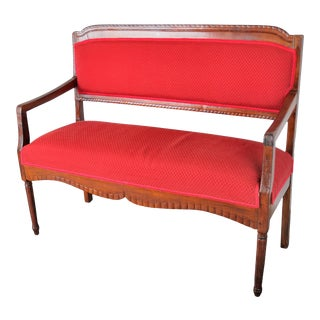 Antique French Louis XVI Style Mahogany Settee W/ Red Upholstery For Sale