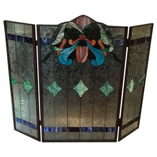 Stained Glass Fire Screen For Sale