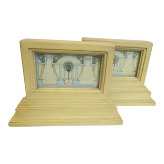 1920s Austrian Wooden and Painted Bookends - a Pair For Sale