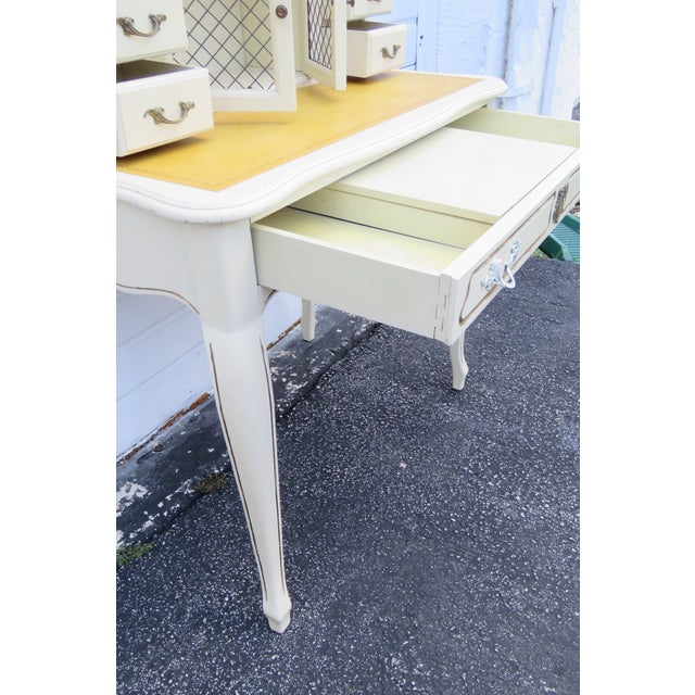 1980s French Painted Leather Top Vanity Writing Desk With Flip Up Mirror 1272 For Sale - Image 5 of 13