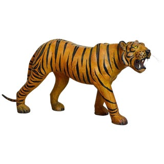 Exotic Huge Anglo Indian Leather Wrapped Sculpture of a Bengal Tiger