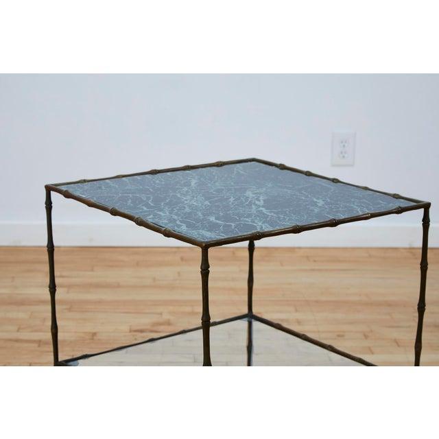 Maison Baguès Vintage Maison Bauges Style Two-Tier Faux Bamboo Side Table For Sale - Image 4 of 13