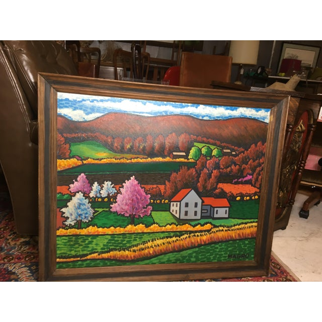 Late 20th Century Late 20th Century Fall Landscape Oil on Canvas Painting For Sale - Image 5 of 8
