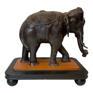 1920s Vintage Asian Patinated Solis Bronze Elephant on Wooden Base For Sale