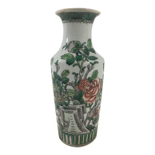 Antique Green and White Peonies Chinese Export Vase For Sale