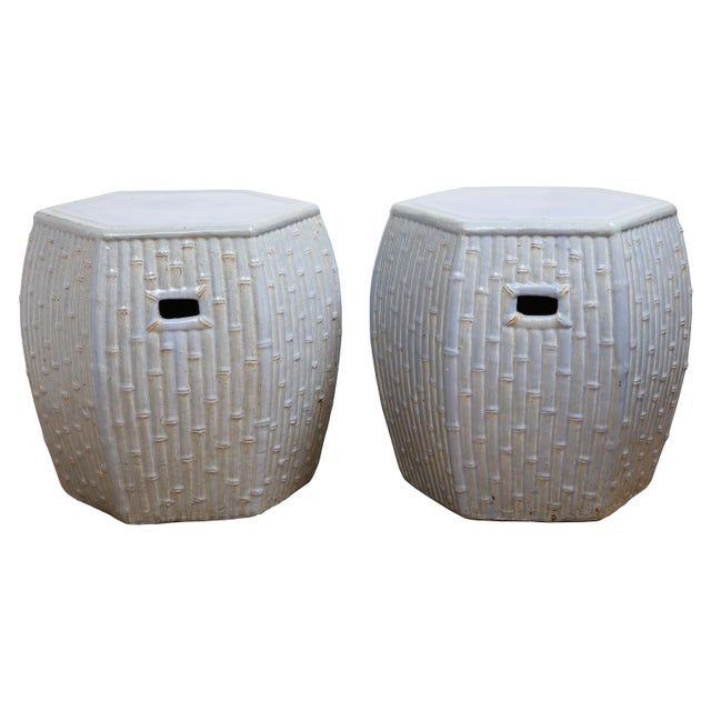 Faux Bamboo Garden Stools - A Pair For Sale - Image 13 of 13