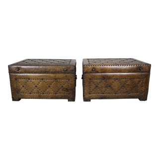 Pair of Spanish Leather Chests With Nailhead Design For Sale