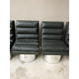 1970s Vintage Channelled Leather Chairs - Set of 4 Preview